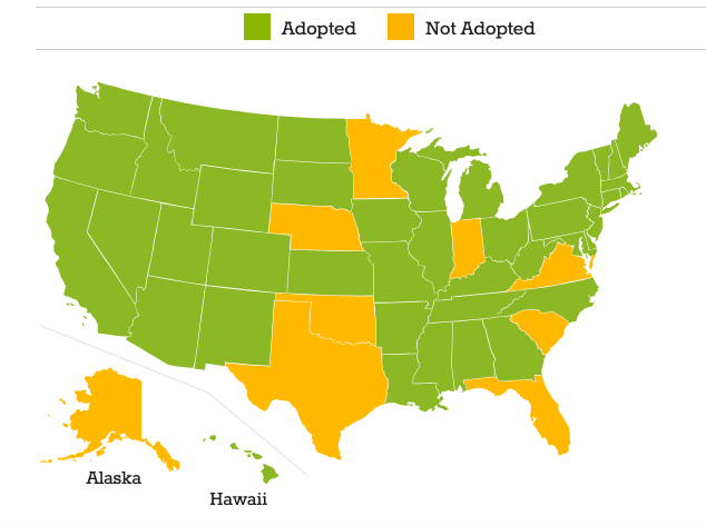 Common core state standards map