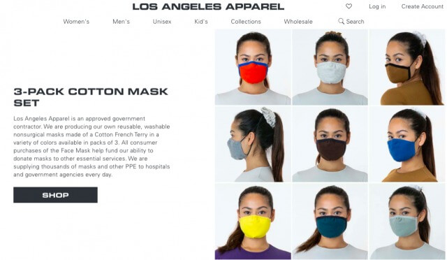 Los Angeles Apparel masks